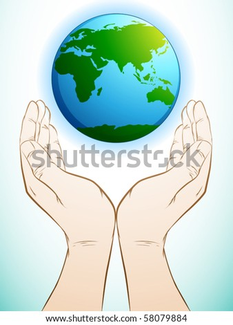 illustration of a hand holding earth - stock vector