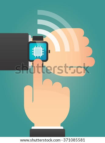 Illustration of a hand pointing a smart watch with a cpu