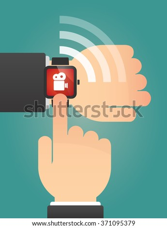 Illustration of a hand pointing a smart watch with a film camera - stock vector