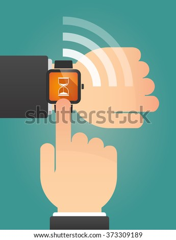 Illustration of a hand pointing a smart watch with a sand clock
