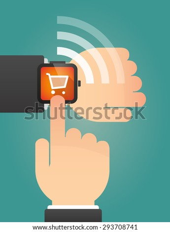 Illustration of a hand pointing a smart watch with a shopping cart