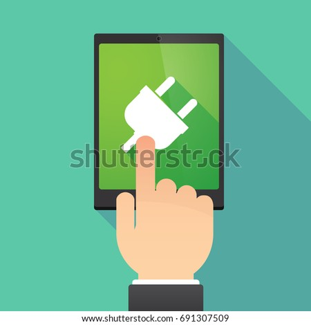 Illustration of a hand touching a tablet PC with a plug