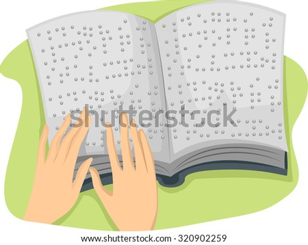 Illustration of a Hand Tracing the Pages of a Book Written in Braille - stock vector