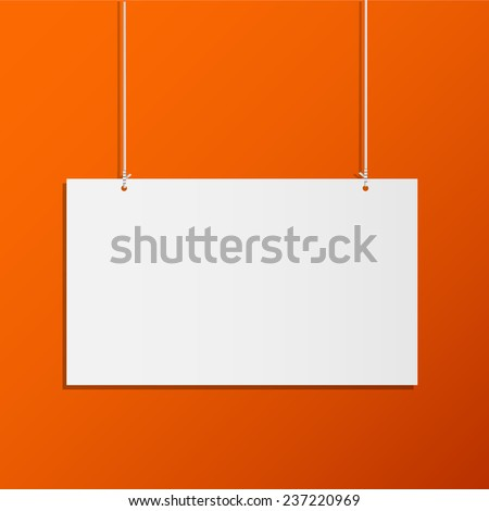 Illustration of a hanging sign on a colorful orange background. - stock vector
