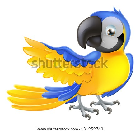 Illustration of a happy blue and yellow cartoon macaw parrot pointing with his wing - stock vector