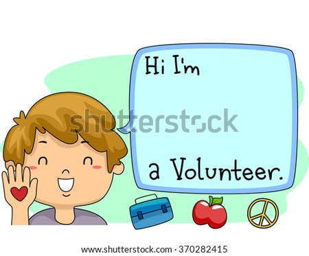 Illustration of a Happy Boy Introducing himself as a Volunteer - stock vector