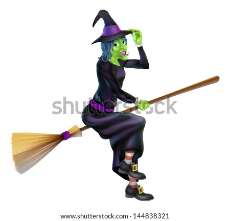 Illustration of a happy cartoon Halloween witch flying on her broomstick and tipping her hat - stock vector