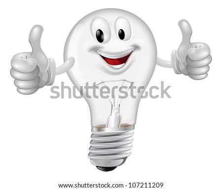 Illustration of a happy cartoon lightbulb man giving a thumbs up - stock vector