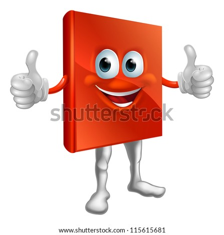 Illustration of a happy cartoon red book man doing a thumbs up - stock vector