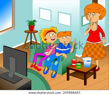 Illustration of a happy children watching TV  - stock vector