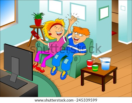 Illustration of a happy children watching TV on a blue background - stock vector