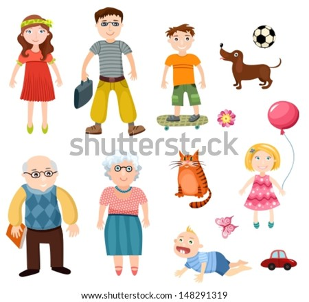 illustration of a happy family - stock vector