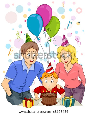 Illustration of a Happy Family Celebrating the Child's Birthday - stock vector