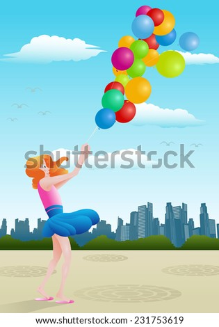 Illustration of a happy girl hold balloon on city background - stock vector