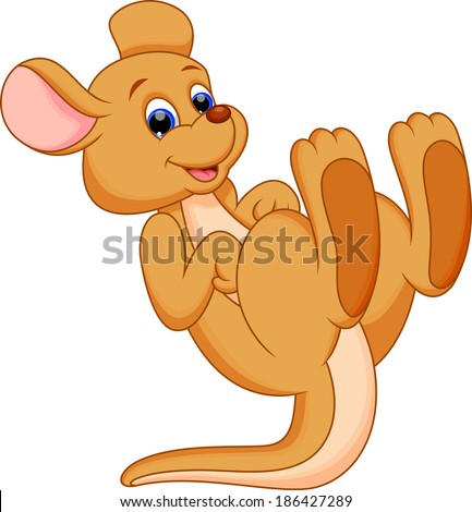 Illustration of a happy kangaroo cartoon - stock vector