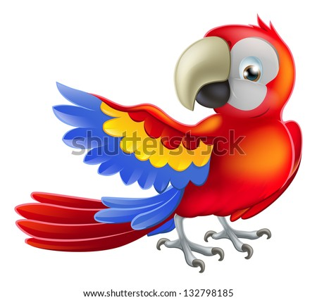 Illustration of a happy red cartoon macaw parrot pointing with his wing - stock vector