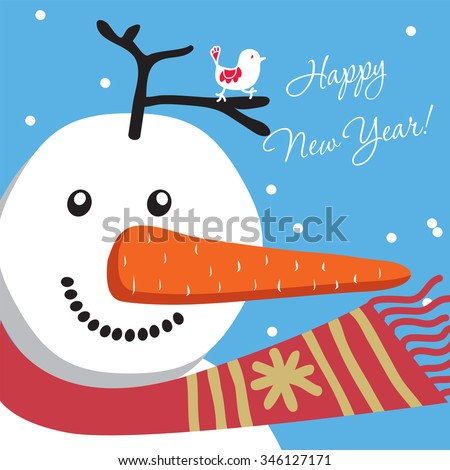 Illustration of a happy snowman. Greeting Cards Happy New Year.