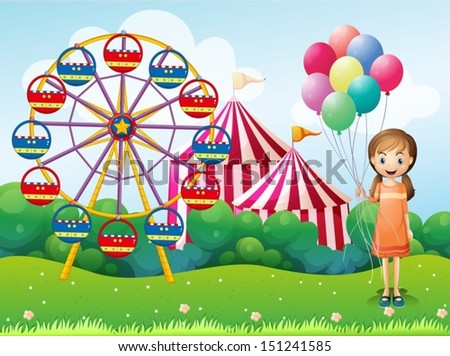 Illustration of a happy young girl holding balloons near the carnival - stock vector