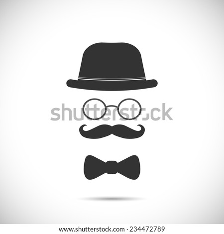 Illustration of a hat, glasses, mustache and bow tie design isolated on a white background. - stock vector