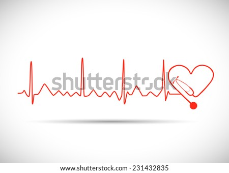 Illustration of a heart monitor wave with stethoscope isolated on a white background. - stock vector