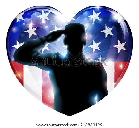 Illustration of a heart shape Veterans Day or 4th July Independence Day of a soldier saluting in front of American flag  - stock vector