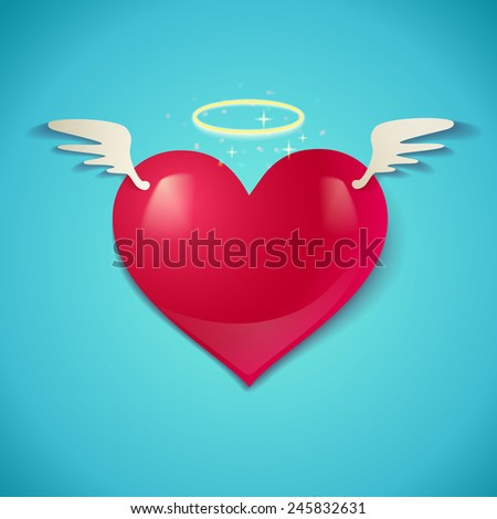 Illustration of a heart with wings - stock vector