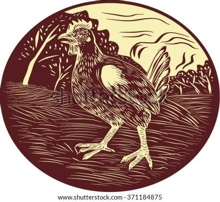 Illustration of a hen in a farm with trees in the background set inside oval shape done in retro woodcut style.  - stock vector