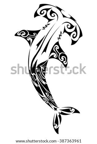 illustration of a hideous hammerhead shark tattoo on white background - stock vector