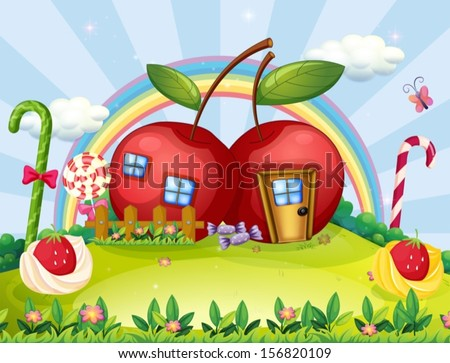 Illustration of a hilltop with two apple houses and a rainbow - stock vector