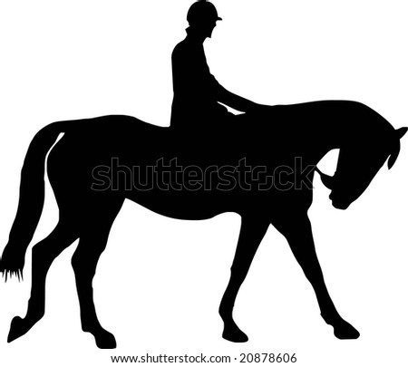 illustration of a horse and jockey - stock vector