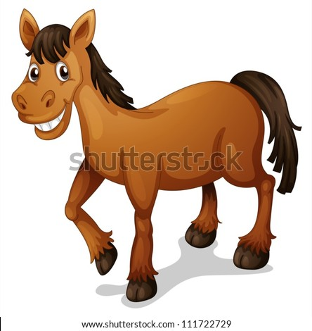 Illustration of a horse cartoon on white - stock vector