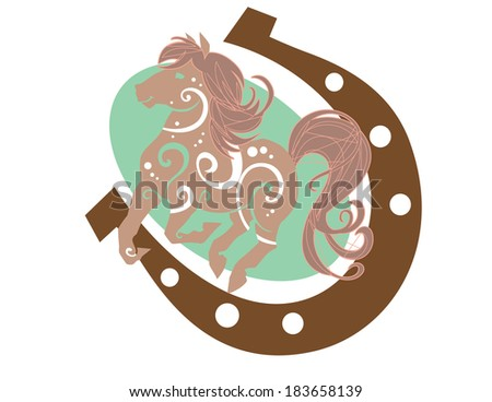Illustration of a horse on a horse shoe and oval background  - stock vector
