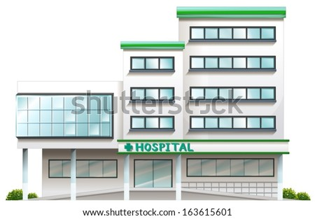 Illustration of a hospital building on a white background - stock vector