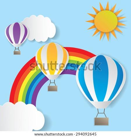 Illustration of a hot air balloon near the rainbow - stock vector