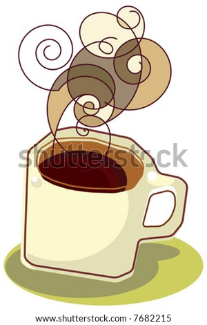 illustration of a hot cup of coffee/ tea. - stock vector