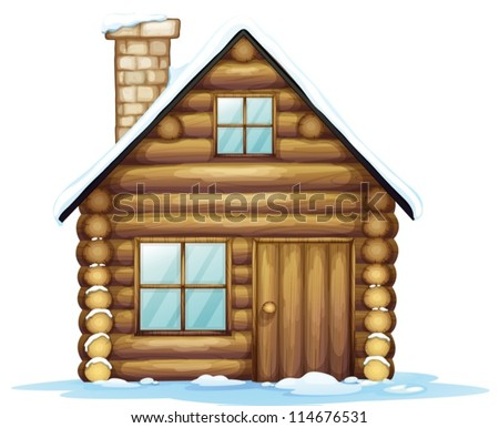 illustration of a house and ice on a white background - stock vector