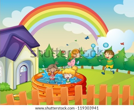 illustration of a house and kids in a beautiful nature - stock vector