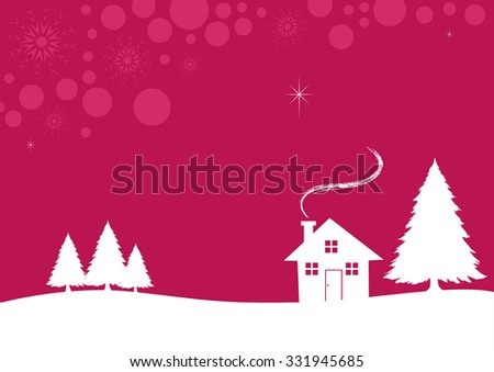 Illustration of a house during wintertime, suitable for christmas theme - stock vector