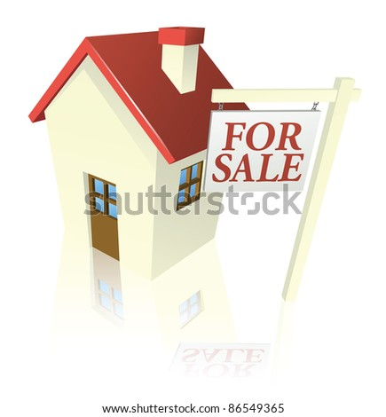 Illustration of a house for sale with for sale sign - stock vector