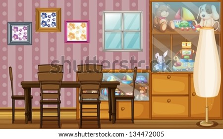 Illustration of a house full of toys and frames