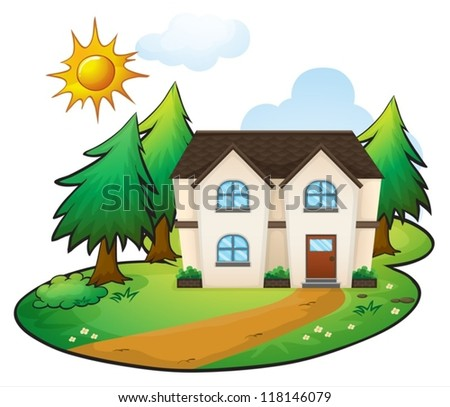 illustration of a house on a white background - stock vector