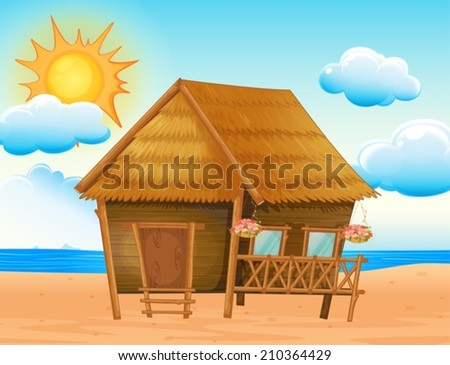 Illustration of a house on the beach