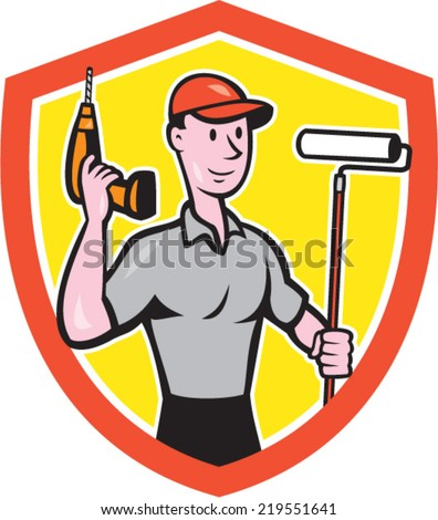 Illustration of a house painter handyman holding paint roller and cordless drill set inside shield crest on isolated background done in cartoon style.  - stock vector
