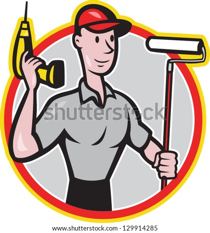 illustration of a House painter handyman with paint roller and holding a cordless drill isolated on white done in cartoon style - stock vector