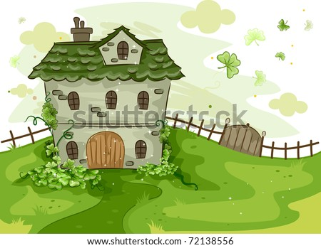 Illustration of a House Surrounded by Shamrocks - stock vector