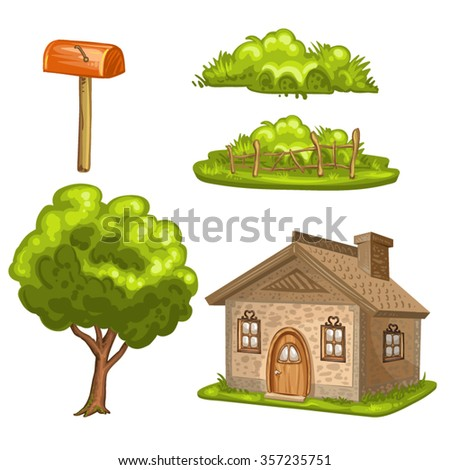 Illustration of a house, tree, bushes - stock vector