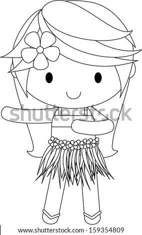 illustration of a Hula Girl - stock vector