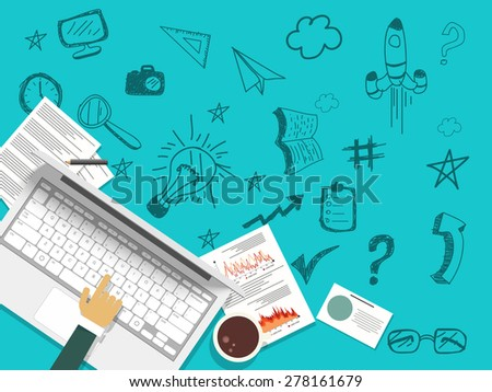 Illustration of a human hand working on a laptop with various infographics elements on blue background. - stock vector