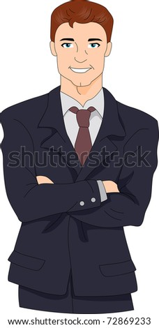 Illustration of a Hunky Businessman - stock vector