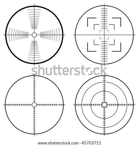 Illustration of a hunting sight with target lines and guide to aim - stock vector